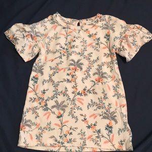 Baby Gap pink floral flutter sleeve dress